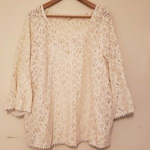 Style & Co lace 3/4 sleeve shirt with cami 3x